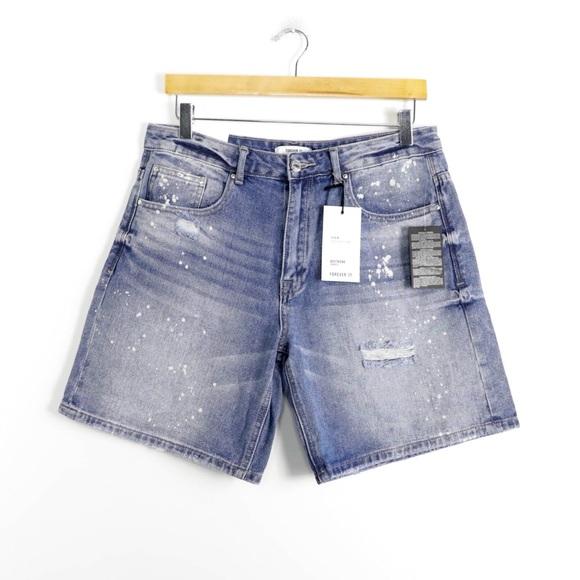 Forever 21 Pants - NWT Blue boyfriend shorts bermuda splatter denim